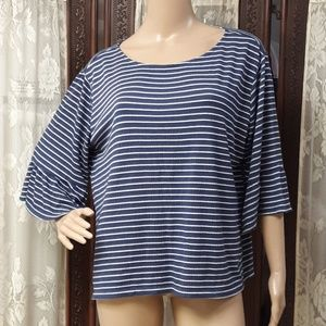Old Navy Blue & White Stiriped Bell Sleeve Blouse